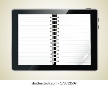 Diary book on a digital tablet screen. Vector Illustration.