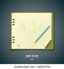 Diary green book and cream paper with bamboo background design, vector illustration