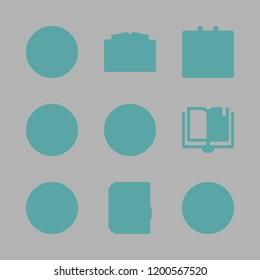 diary icon set. vector set about calendar, open book, agenda and pen icons set.