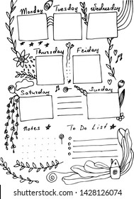 Diary page template in hand drawn style