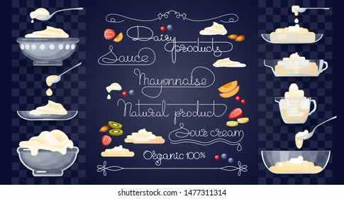 Diary products, fruits, set of kitchen utensils, and handwritten words. Sour cream, spoon with cream, jug, sauce dish, and glass bowl on blue background. Vector illustration.