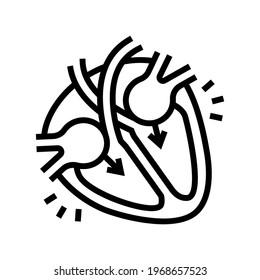 diastole disease line icon vector. diastole disease sign. isolated contour symbol black illustration