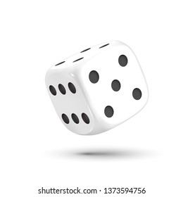 Dice. Dice with black dots on a white background. 3D effect Vector illustration.