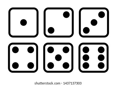 Dice cartoon icons set. Traditional die with six faces of cube marked with different numbers of dots or pips from 1 to 6. Learn how to count up to six for kids, drawing. Isolated vector illustration.