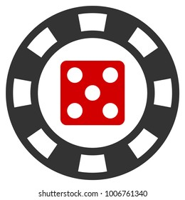 Dice Casino Chip flat vector icon. An isolated icon on a white background.