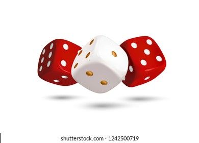 Dice. Composition of three dices on a white background. Red and white dice. 3d effect Vector illustration.
