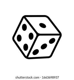 Dice cube, casino game. Black icon on white background