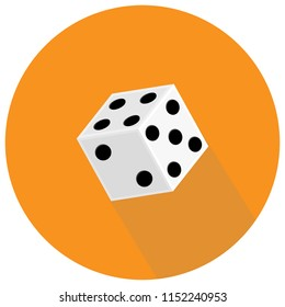 Dice flat icon. Game dices. Vector illustration