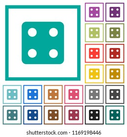 Dice four flat color icons with quadrant frames on white background