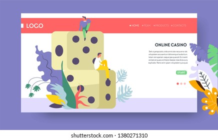 Dice gambling online casino online web page template vector gaming cubes Internet site template blackjack and poker betting and staking money win fortune and luck game tournament and championship