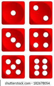 Dice for games turned on all sides and with all the numbers. Numbers of dice, one, two, three, four, five, six. Red dice vector art image objects illustration eps10, isolated on white background