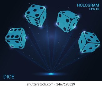 Dice hologram. Holographic projection of casino dice. Flickering energy flux of particles. The scientific design of gambling.