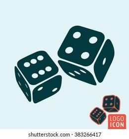 Dice icon. Game dices icon isolated, casino symbol minimal design. Vector illustration