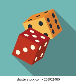 dice icon with long shadow. flat style vector illustration