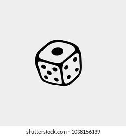 Dice icon. Playing dice illustration