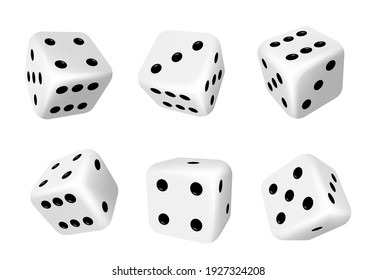 Dice isolated 3d objects of vector gambling games design, casino, craps and poker, tabletop or board games. Realistic white cubes with random numbers of black dots or pips and rounded edges