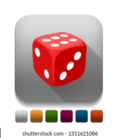 dice With long shadow over app button