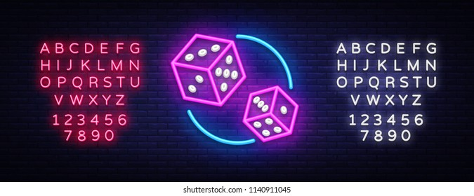Dice Neon sign vector design template. Dice Game symbols neon logo, light banner design element colorful modern design trend, night bright advertising, bright sign. Vector. Editing text neon sign