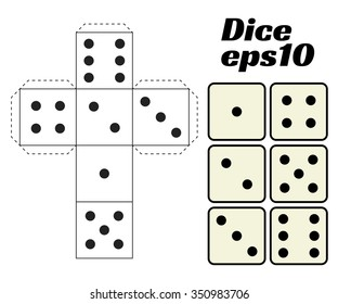 Dice Set. Vector illustration. Printable template for cutting from paper. Six faces of a cube. For gambling, casinos, game design.