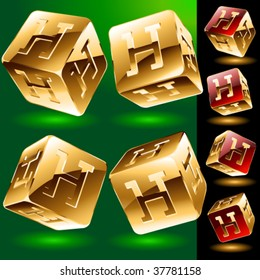 Dice styled cube's set with alphabet symbols. Letter h