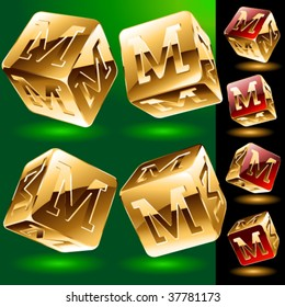 Dice styled cube's set with alphabet symbols. Letter m