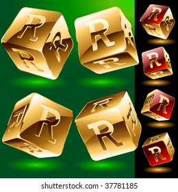 Dice styled cube's set with alphabet symbols. Letter r
