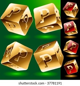 Dice styled cube's set with alphabet symbols. Letter p