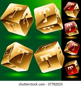 Dice styled cube's set with alphabet symbols. Letter t