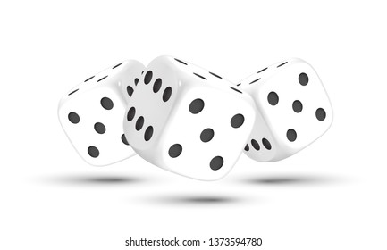 Dice. Three dices with black dots on a white background. 3D effect Vector illustration.