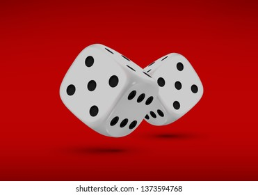 Dice. Two dices with black dots on a red background. 3D effect Vector illustration.