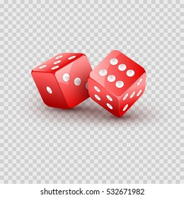Dice vector design isolated. Two dice casino gambling template concept. Casino background.