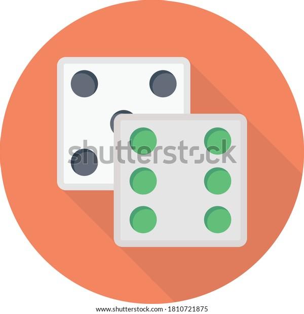 dice vector flat color icon