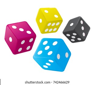 Dices with print colors. Dice in print colors on the white background. Concept for presenting of color printing. Vector available.