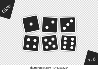 Dices Set 1 To 6 With Shadow - Vector Illustration - Isolated On Transparent Background