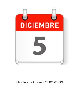 Diciembre 5, December 5 date visible on a page a day organizer calendar in spanish Language