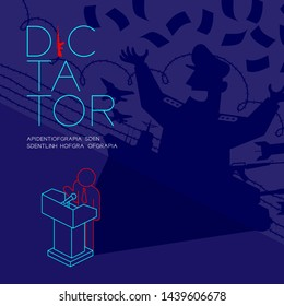 Dictator shadow man pictogram speech with podium isometric, Dictatorship behind control concept design illustration isolated on blue background with copy space, vector eps 10