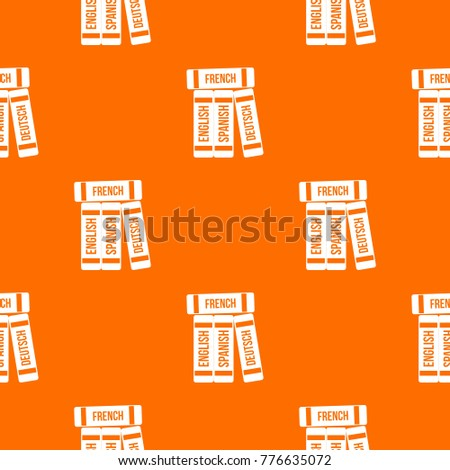 Dictionaries Pattern Repeat Seamless Orange Color Stock Vector