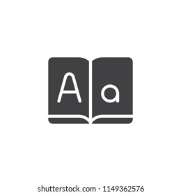 Dictionary book vector icon. filled flat sign for mobile concept and web design. Letters textbook simple solid icon. Symbol, logo illustration. Pixel perfect vector graphics