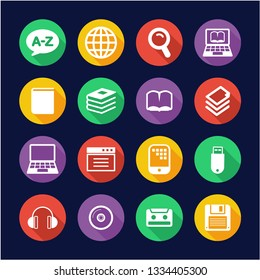 Dictionary or Glossary Icons Flat Design Circle