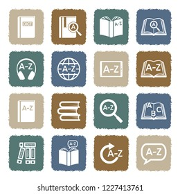 Dictionary Icons. Grunge Color Flat Design. Vector Illustration.