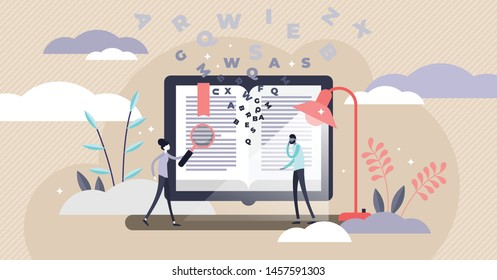 Dictionary vector illustration. Flat tiny translation book persons concept. Abstract literature reading with flying letters study. Language knowledge encyclopedia and academic vocabulary with bookmark