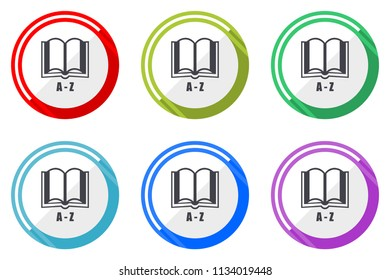 Dictionary web vector icons, set of colorful flat round design editable internet buttons in eps 10 for webdesign and smartphone applicatios