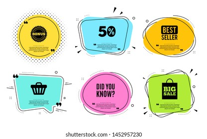 Did you know. Best seller, quote text. Special offer question sign. Interesting facts symbol. Quotation bubble. Banner badge, texting quote boxes. Did you know text. Coupon offer. Vector