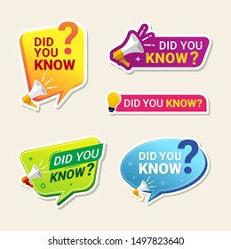Did You Know Label banner sticker with speech bubble