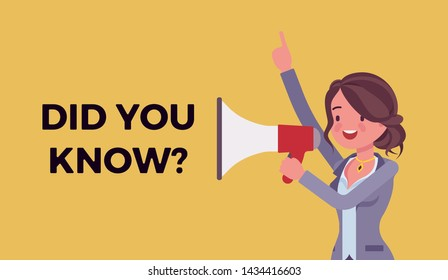 Did you know megaphone announcement. Woman holding loud speaker explain interesting facts of commercial product, service promotion, new advertising information. Vector flat style cartoon illustration