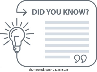 Did you know quotation - speech bubble with excerpt and light bulb, marketing and advertising