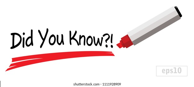 did you know, red underline, marker pen