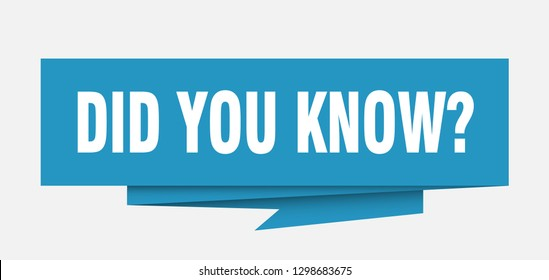 did you know sign. did you know paper origami speech bubble. did you know tag. did you know banner