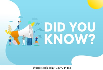 Did you know word vector illustration concept, people with megaphone shout out on megaphone and give information,  can use for, landing page, template, ui, web, homepage, poster, banner, flyer