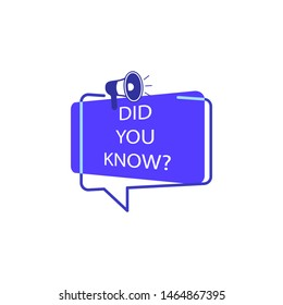 did you know? tag, color, megaphone, blue icon